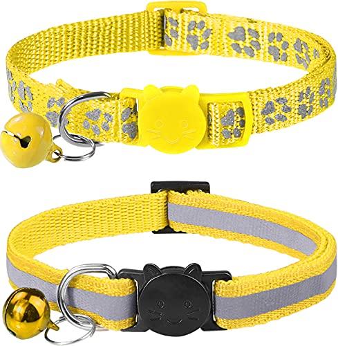 Taglory Collar Gato Reflectante, 2 Piezas Collares para Gatos con Cascabeles y Hebilla Seguro de Liberación Rápida, 19-32cm Amarillo