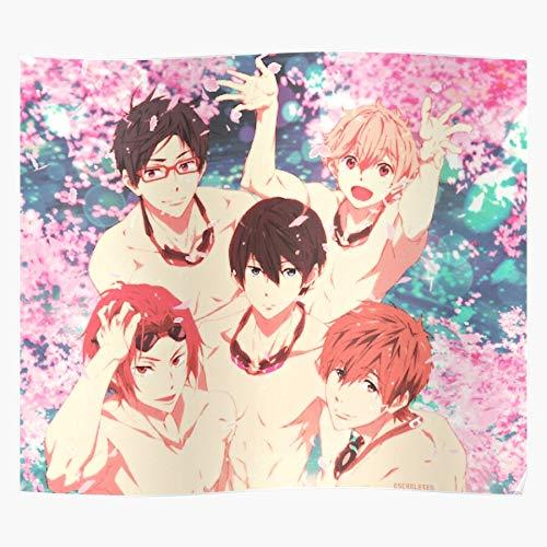 Anime Haru Club Swim Iwatobi Makoto Nagisa Free Rei Rin Print Modern Typographic Poster Girl Boss Office Decor Motivational Poster Dorm Room Wall