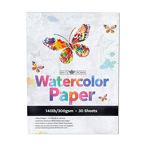 Watercolor Paper Pad - 140lb/300gsm - Bright White 30 Sheets (9x12) Cold Press Texture, Acid Free Watercolor Paper for Kids, Teens and Adult Painters, Wet Media & Mixed Media Artists
