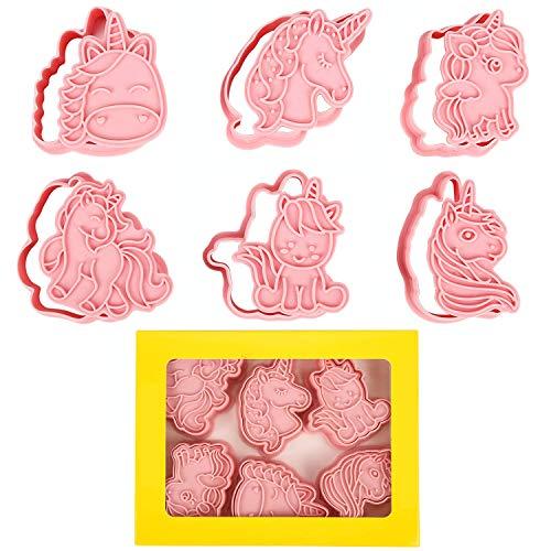 Orapink - Juego de 6 moldes de plástico para galletas con diseño de unicornio, diseño de unicornio y galletas.