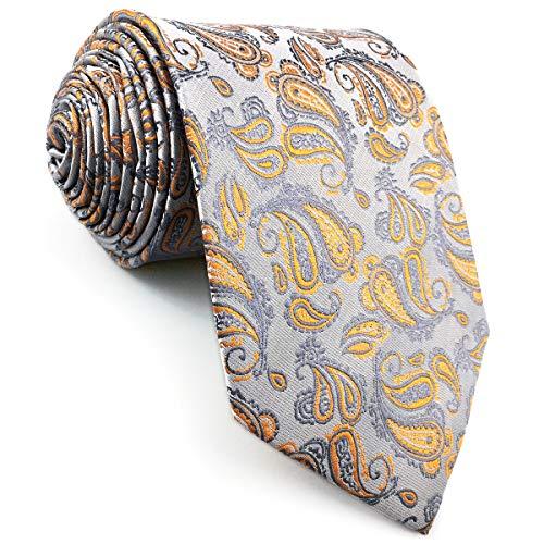 shlax&wing Nuevo Cachemir Corbatas Para Hombre Plateado Naranja Seda Para Hombre Classic