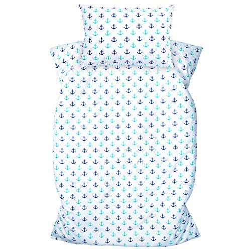 Amilian Ropa de cama infantil de 2 piezas, 100 % algodón, ropa de cama para bebé, funda nórdica de 100 x 135 cm, funda de almohada de 40 x 60 cm, con cierre de hotel, ancla artdeco