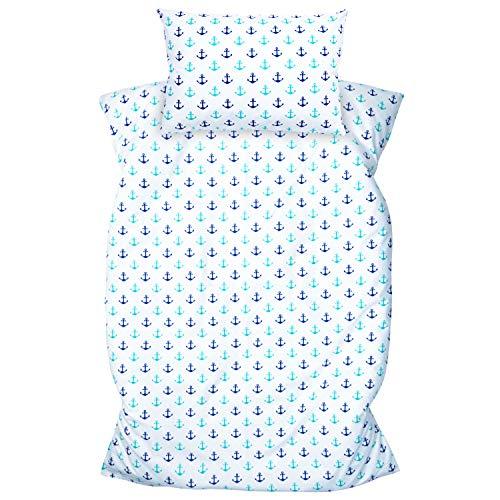 Amilian Kinderbettwäsche 2-teilig 100% Baumwolle Kinder Bettwäsche Babybettwäsche für Baby Bettbezug 100 x 135 cm, Kopfkissenbezug 40 x 60 cm, mit Hotelverschluß Anker artdeco