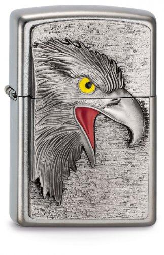 Zippo Feuerzeug 2003542 Eagle Head Emblem Benzinfeuerzeug, Messing, Edelstahl, 1 x 3,5 x 5,5 cm