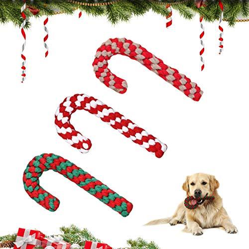 Cuerda de Juguete para Perros,Juguetes Perro para Navidad, Perros Cuerda de Juguete para Masticar, Bastón Cuerda de Caramelo Juguete, Cuerda para Masticar Mascotas, Juguetes para Perros navideños (A)
