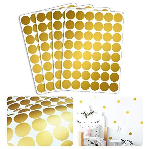Wandtattoo Goldene Konfetti Punkte – 192 Aufkleber im Set – Farbe Gold – 3,3 cm Druchmesser