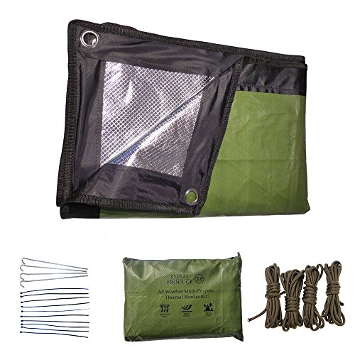 All Weather Multi-Purpose Reusable Emergency Outdoor Thermal Blanket Kit - Large Reflective waterproof reusable Blanket, 4 Steel Pegs, 4 Lengths of Paracord and Ziplock Waterproof Pouch