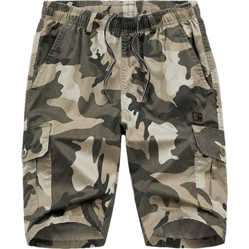 Pantalones de Cinco Puntos de Carga de Camuflaje para Hombre, Pantalones Cortos de Trabajo tácticos de Cintura elástica cómodos Casuales de Gran tamaño XL