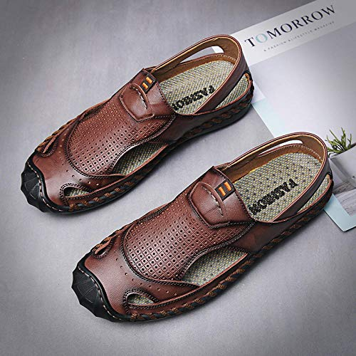 BDBD Herren Print Slide Sandale,Outdoor-Strandschuhe aus Leder aus Leder, lässige Mehrzweck-Sandalen - Dunkelbraun_44,Stretch Sandale Open Toe