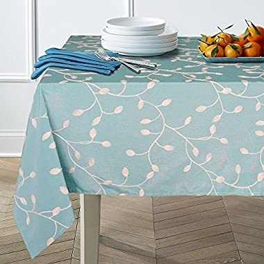 Lamberia Tablecloth Heavyweight Vintage Burlap Cotton Tablecloths for Rectangle/Oblong/Oval Tables, Seats 6 to 8 People (60 x84 , Blue Summer Leaves)