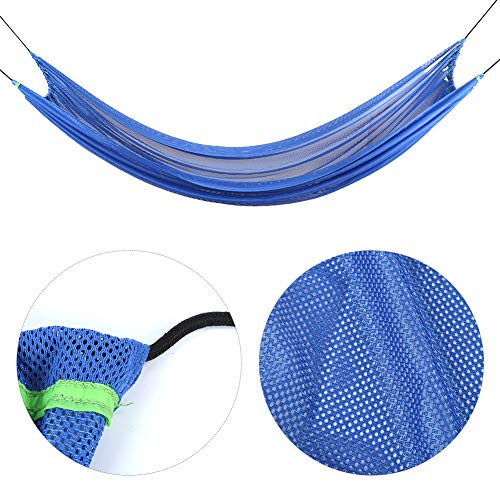 Zouminyy Foldable Double Hammock, Outdoor Hammock, Polyurethane Fiber Acrylic Fibers for Camping Backpackers(blue)