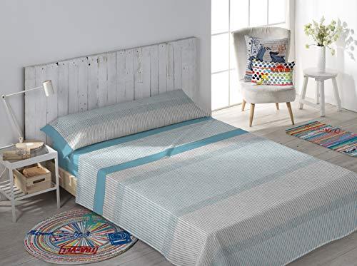 Secaneta Stilia, Juego 3 Piezas, Sábana Bajera, Encimera y Funda Almohada, Brand (Azúl, Cama 150 x 190/200 cm), Azul