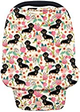 AFPANQZ Floral Dachshunds Baby Car Seat Cover Canopy and Nursing Cover Infant Car Canopy Spring Autumn Winter Snug Warm Breathable Windproof Open Peep Top Universal Fit Pink Flowers