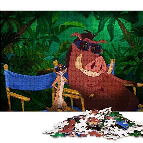 1000 Puzzleteile für Erwachsene The Lion King: Wild Boar and Meerkat 1000-teiliges Puzzle für Erwachsene und Kinder Familienteam Bildung intellektuellen Stressabbau Spielzeug 52x38cm