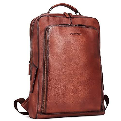 BOSTANTEN Men Vintage Leather Backpack 15 inch Laptop Backpack Travel Casual Bag Large Capacity Shoulder Bag
