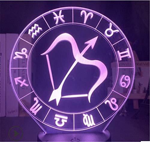 Luz de noche para niños Sagitario 3D lámpara de luz con control remoto táctil 16 colores cambiantes lámparas de escritorio regalos de cumpleaños para niñas niños