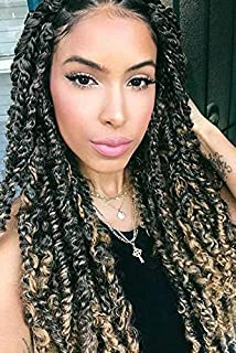 Passion Twist Hair 18 inch Braids for Passion Twist Water Wave Synthetic Crochet Braiding Hair Extensions (T 27,6packs+crochet needle+colorful beads)