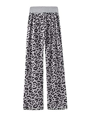 Kelinfei Women Drawstring Palazzo Wide Leg Lounge Pants Pajama Pants Sleepwear Yoga Pants (Gray, XXL)