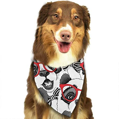 iuitt7rtree Halstuch mit roter Brille und Krawatte, Dreieck, waschbar, einzigartiges und nie veraltetes Design, für Hunde und Katzen