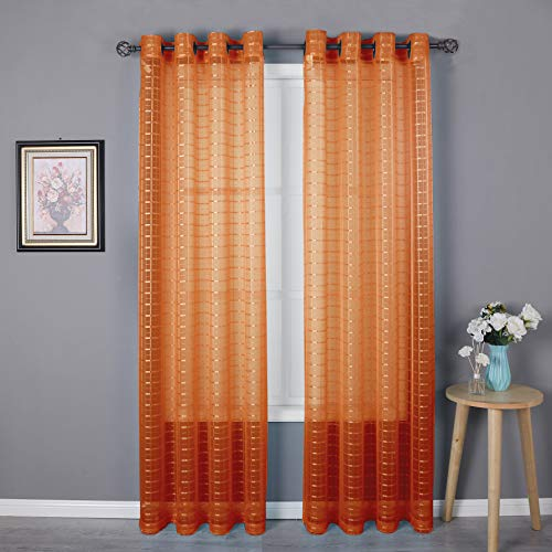 HEJEME Orange Sheer Curtain Window Curtains (54 x 84inch) with Grommets - Single Layer Semi Sheer Plaid Lines Panels for Bedroom, Living Room & Dining Room, Set of 2 Panels