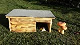 Schildkrötenhaus Terrarium handgemacht 60x40x22cm geflammt Dachpappe Isolierung Gratis Heu und Stroh