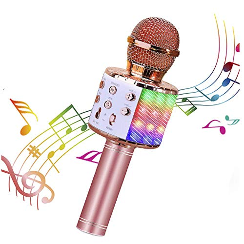 CINY Micrófono Inalámbrico, Micrófonos Bluetooth Con Luces Led De Colores Intermitentes, Altavoz Portátil, Máquina De Karaoke, Compatible Con Dispositivos Android Ios Para Cantar En Fiestas, Oro Rosa
