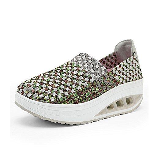 EZUOGO Womens Soft Toning Rocker Shoes Sports Tennis Shoes Slip on Walking Shoes
