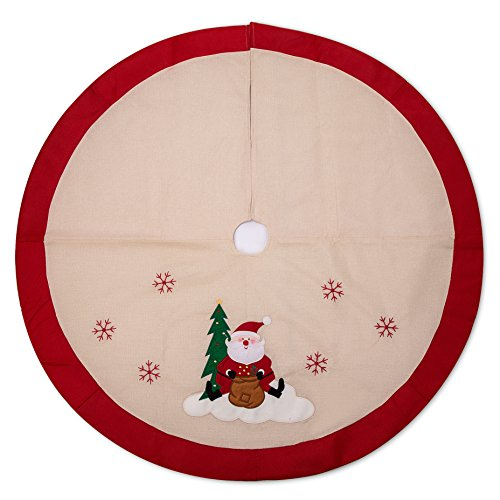 iPEGTOP 48 inches Burlap Rustic Christmas Tree Skirt - Classic Holiday Decorations Woodland Santa Snawflake Embroidery - Begie Red Rim