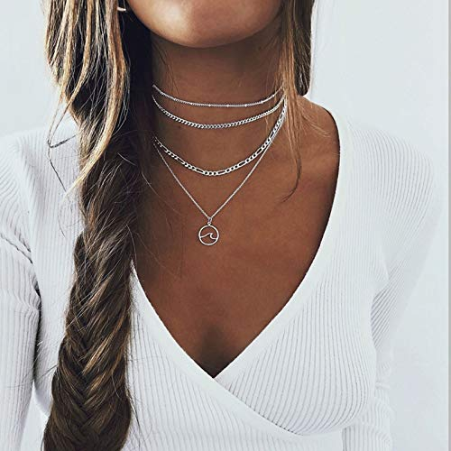 Yienate Bohemian Multilayer Ocean Wave Pendant Necklace Dainty Chunky Link Chain Choker Beach Necklace Layered Boho Charm Jewelry for Women and Girls