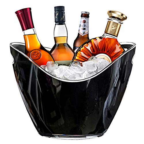 RERXN 8L Eiseimer Champagner Eimer,Eis Eimer,Weinkühler Sektkühler,Acryl große Eiskübel, Küchenobst und Gemüse Vorratsbehälter Behälter (Black)