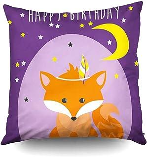 Ducan Lincoln Pillow Case 2PC 18X18,Fundas De Almohada De Sofá,Fundas De Almohada De Tiro Cuadrado Tarjeta De Feliz Cumpleaños Cute Fox Cojín De Ambos Lados