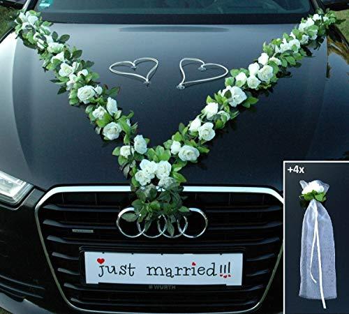 VIP Girlande 64 hochwertige Rosen 16 extrastarken Saugnäpfen 2 x 180 cm Girlande 4 Türgriffdekorationen 2 Rattanherzen Braut Paar Autoschmuck Hochzeit Car Auto Wedding PKW ®Auto-schmuck (Weiß)