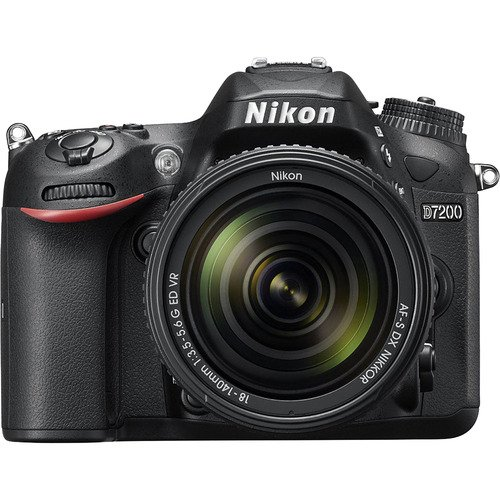 Nikon D7200 DX-Format Black Digital SLR Camera Kit with 18-140mm VR Lens Bundle with 16GB SDHC High Speed Memory Card, Camera Bag and 3 Pieces Cleaning Kit