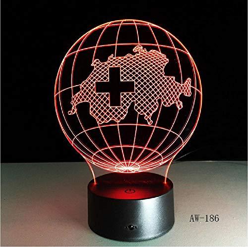 3D Lamp Meerdere kleuren Verloop Zwitserland Kaart Led Nacht Kids Illusie Tafel Baby Nachtlampje Kind Slaapkamer Decor Afstandsbediening Telefoon Bluetooth Controle Kleur