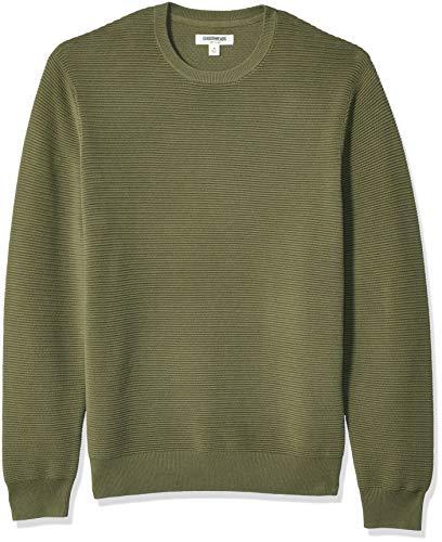 Amazon Brand - Goodthreads Men's Soft Cotton Ottoman Stitch Crewneck Sweater, Olive, Medium Tall