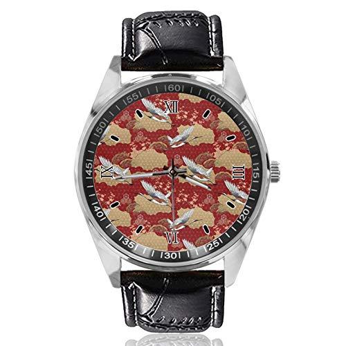 Japanische Crane Cherry Blossom Damen Gürtel Uhr Einfache Klassische Stil Sportuhr Entworfen für Frauen Einfach und Mode