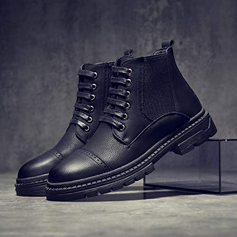Shukun Men's boots Autumn Boots Men'S Wear Boots High To Help The Tube Round Head Martin Boots Men'S Wild