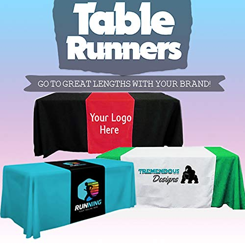 BANNER BUZZ MAKE IT VISIBLE Customize Table Runner Cloth 2' x 5.67' Using Your Text and Logo for Business, Trade Shows, Exhibition, Events, Advertising