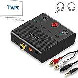 1mii Transmisor Bluetooth 5.0 TV, Emisor de Audio Bluetooth AptX HD y Baja Latencia, Adaptador Bluetooth para PC con Dual Enlace 2 Auriculares/Altavoces BT, con Jack AUX 3.5mm/ Optico/Coaxial/RCA