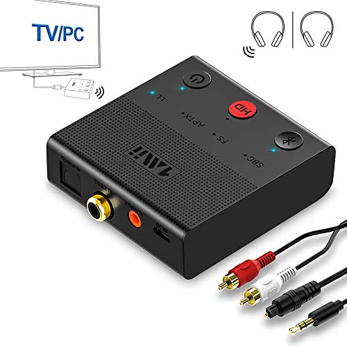 1mii Transmisor Bluetooth 5.0 TV, Emisor de Audio Bluetooth AptX HD y Baja Latencia, Adaptador Bluetooth para PC con Dual Enlace 2 Auriculares/Altavoces BT, con Jack AUX 3.5mm/ Optico/Coaxial/RCA