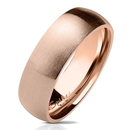 Bungsa 54 (17.2) rosegoldener Ring für Damen & Herren - Rosé Rosegold - Damenring aus Edelstahl matt - edler Edelstahlring geeignet als Verlobungsringe, Freundschaftsringe & Partnerringe