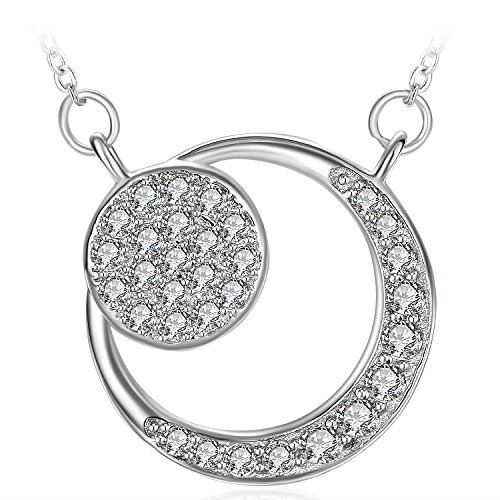 Silver Moon Necklace, Women Girl Lovely Gifts Charm Cubic Zirconia Necklace ZHULERY Fine Jewelry