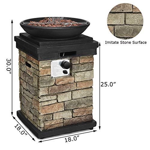 Giantex Propane Fire Pit Table, 40,000 BTU Outdoor Bowl Fire Table with Lava Rocks and Rain Cover (Black)