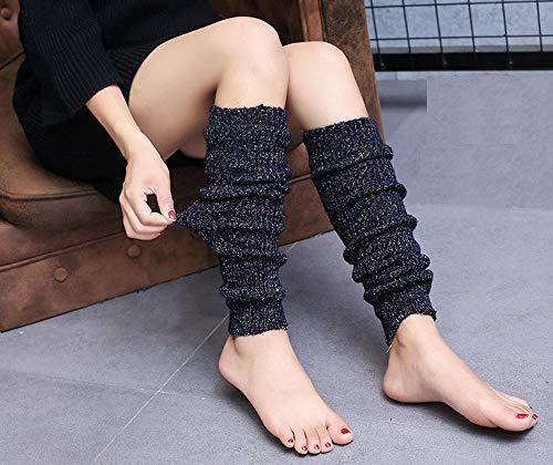 FFAA Leggings Retro para Mujer, Botas De Punto por Encima De La Rodilla, Calcetines Cálidos para Otoño E Invierno, Calcetines De Yoga-Zblue_Un Tamaño