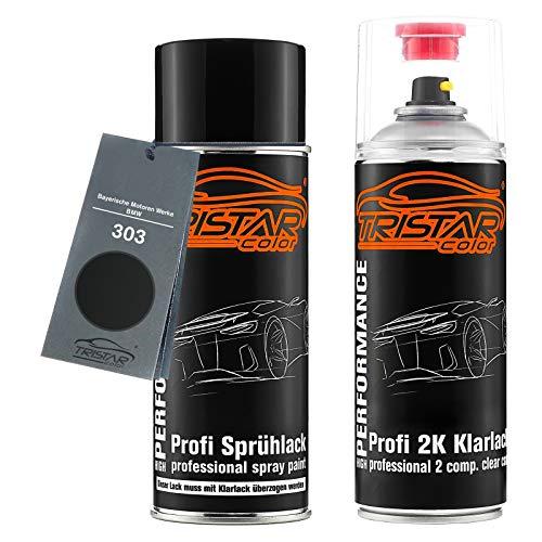 TRISTARcolor Autolack 2K Spraydosen Set für Bayerische Motoren Werke/BMW 303 Cosmosschwarz Metallic Basislack 2 Komponenten Klarlack Sprühdose