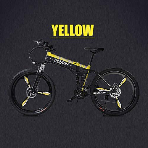 "XTD Bicicleta eléctrica de montaña Plegable de 26""- Doble de Freno de Disco para Adultos y Bicicletas de suspensión Completa, (90km 48V 14.5Ah 400W) con medidor LED Inteligente, 27 velocidades B"