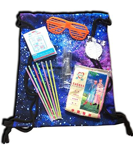 brosse /à dents Just.Ethereal Festival Set Concert de musique Funky Kit avec sac /à dos avec cha/îne poncho imperm/éable mini-p/âte lunettes de f/ête baguettes lumineuses
