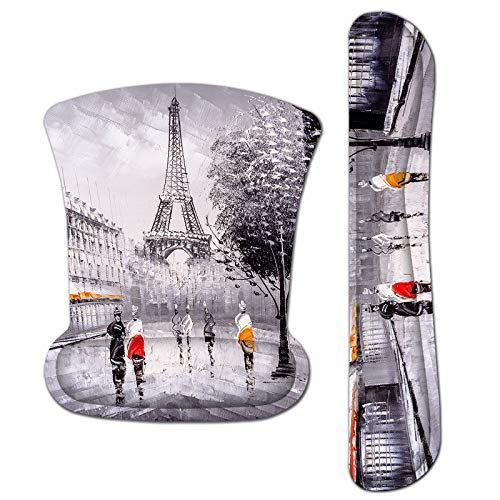 Mouse Pad with Wrist Support and Keyboard Wrist Rest Pad Set,Ergonomic Mouse Pads for Computers Laptop,Non-Slip Comfortable Mousepad Raised Memory Foam for Easy Typing Pain Relief , Eiffel Tower