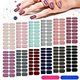 12 Sheets 192 Pieces Solid Color Nail Polish Strips Stickers Self-Adhesive Full Nail Wraps Decals Strips Manicure Nail Stickers with Nail File Waterproof Gel Nail Stickers for Women Girls (Various Color)