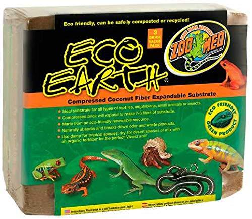 Zoo Med Eco Earth - Substrato in Fibra di Cocco compressa, 3 Mattoni
